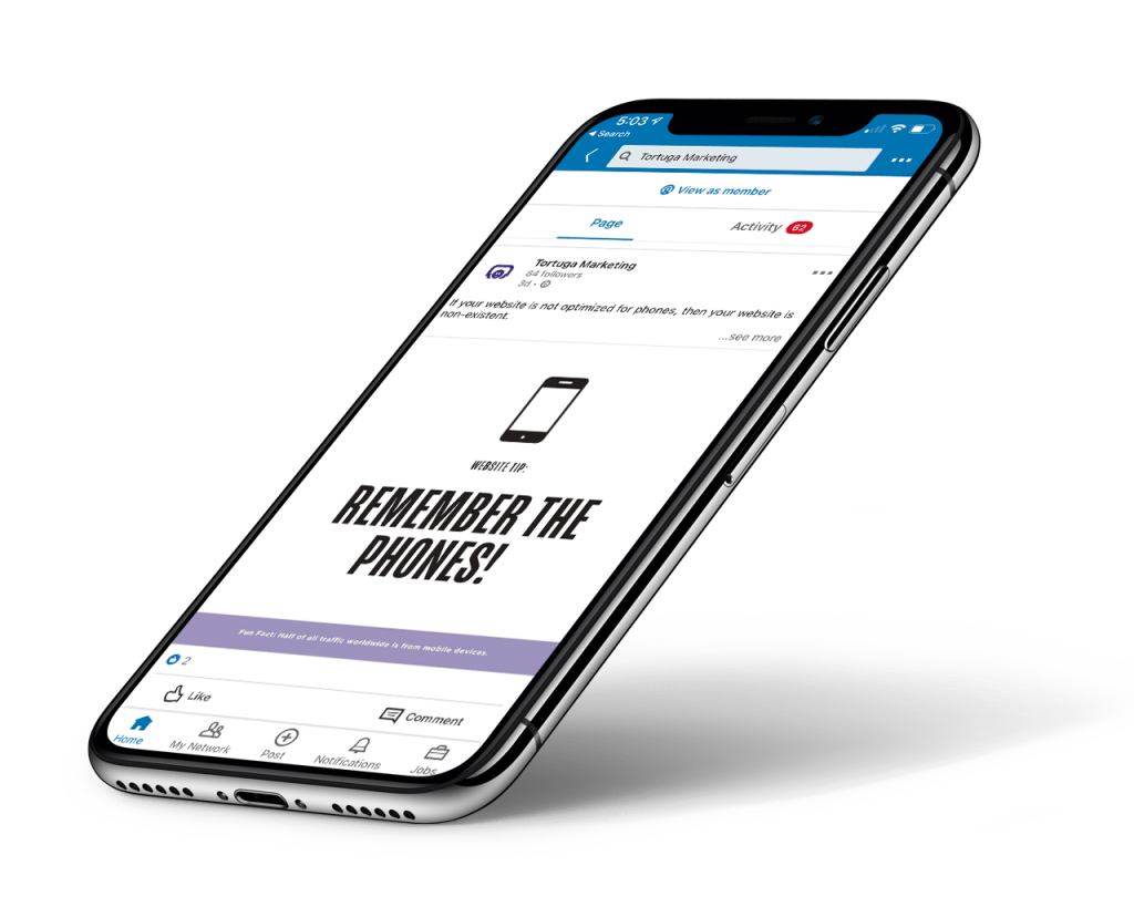micro content on smartphone on linkedin